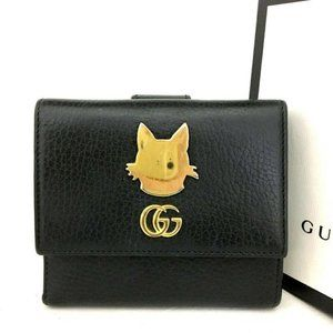 GUCCI Cat Marmont Black Leather Long Bifold Wallet